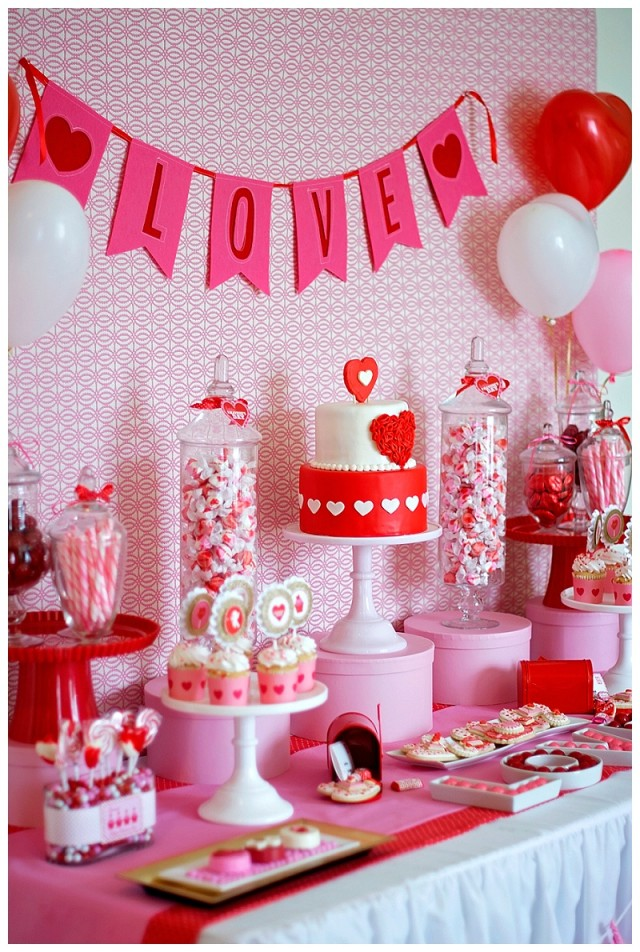 Valentines Day dessert table