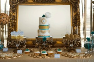 Baroque Era Party Dessert Table - gold, white, and teal party. 18th Century European Desserrts