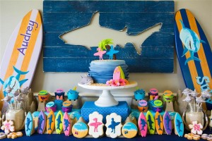 Dessert table for a surf party (with shark inspriation)