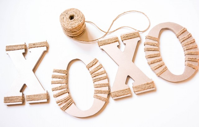 XOXO wooden letters for valentine's day