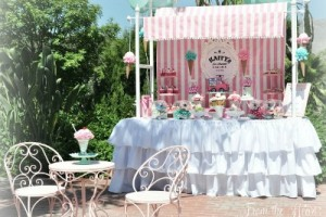 Cute ice cream party with pink and mint colors! Setting like an ice cream parlor